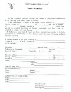 Petition for Affiliation - Zorah Shrine