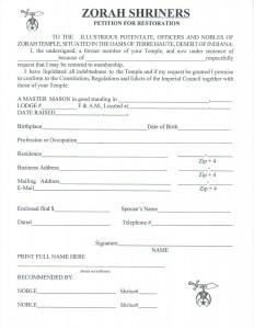 Zorah Shrineers Petition for Restoration